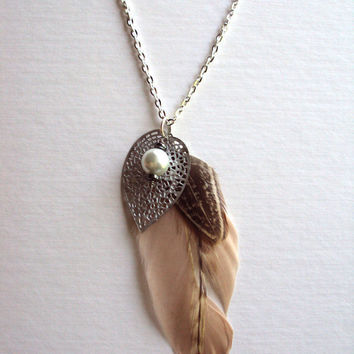 Neutral Tan Feather Pendant