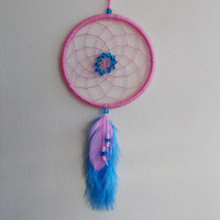 3'' Pink and Blue Dreamcatcher - Wall Hanging Home Decoration - Car Rear View Mirror Decor - Hippie Boho Dream Catcher - Car Accessory
