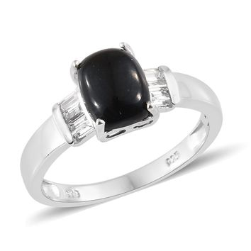Black Jade Platinum Over Sterling Silver Ring