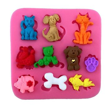 3D Cat Pig Dog Baking Molds DIY Fondant Cake Mold Chocolate Soap Mold Mould Kitchen Bakeware Tools Sugar Jelly Pudding Decorate