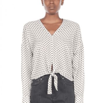 Women's Polka Dot V-Neck Blouse with Front Tie