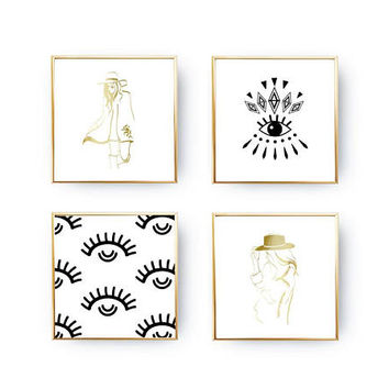 SET of 4 Prints, Fashion Eyes Set, Minimal Art, Cowgirl Style, Abstract Art, Fashion Illustration, Home Decor, Gold Foil Print, Eye Pattern