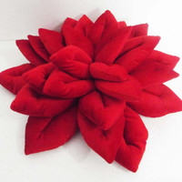 "red Lotus flower velvet pillow/ cushion in the size 16""x16""mother gift housewarming gift"