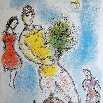 Valentine's gift, Marc Chagall, Ahava, Love, large wall print, lithograph, jewish art, gift, heaven, opera, angels, surrealism, French