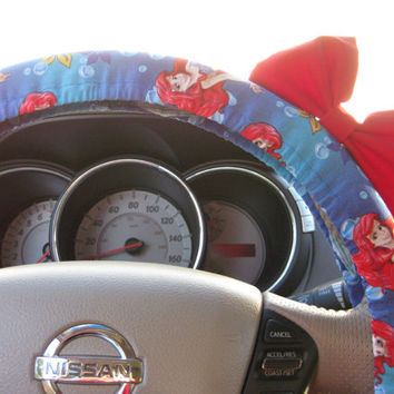 Steering Wheel Cover Bow - The Original LIMITED EDITION Little Mermaid Inspired Steering Wheel Cover with Bright Red Bow