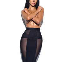 Larissa Sheer Cut Out Detail Bandage Skirt