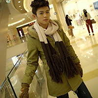 Men's In The Korean Style Slim Long Leopard Tank Cotton Coat