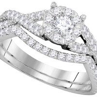 14kt White Gold Womens Diamond Princess Bridal Wedding Engagement Ring Band Set 3/4 Cttw