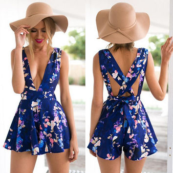 Royal Blue Floral Print V-Neck Romper