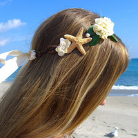 Starfish Floral Bridal Head WreathBeach by sandnsurfcreations
