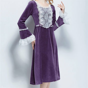 Autumn And Winter Lace Nightgowns Vintage Indoor Clothing Long Sleeve Sleep Shirts Solid Sleepwear O-neck Nightgown female #HH15