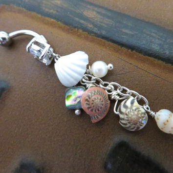 Seashell Cluster Belly Button Jewelry Ring Real Sea Shell Beach Pearl Long Abalone Charm Navel Piercing Bar Barbell