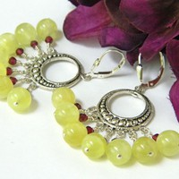 Silver Round Chandelier Earrings With Prehnite and Garnet Beads