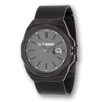 Steve Madden Men's Classic Flat Mesh Casual Fashion Black Analog Watch with C...