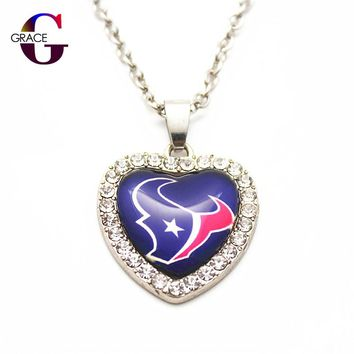 6pcs Fashion Houston Texans Football Sports Charms Heart Crystal Necklace Pendant With 50cm Chains For Women Diy Jewelry