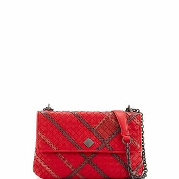 Bottega Veneta Olimpia Intrecciato Snakeskin & Leather Shoulder Bag, Red