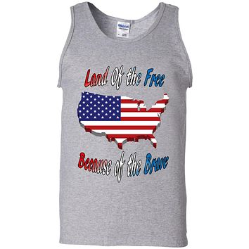 4th Of July Tank Top Land Of The Free USA Flag Map 100% Cotton TankTop