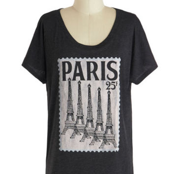 ModCloth Travel, French Mid-length Short Sleeves Postcard from Paris Tee