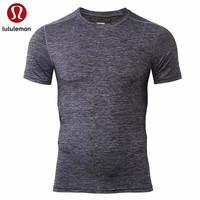 "Gotopfashion ""lululemon""Men's casual air solid all-match quick dry short sleeved T-shirt"