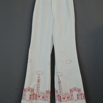 1960s London Town Embroidered Bell Bottom Pants by Wrangler 25 waist - Red on White - Big Ben, Queen Guards, Bus