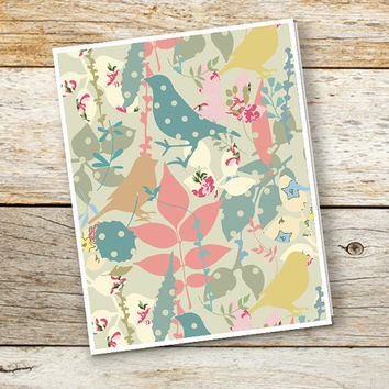 Greeting card, Birds surface pattern card, Blank card for her, 4x5 or 4x6 inches folded