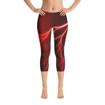 Red Hot Lightning Capri Leggings