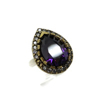 Amethyst Topaz Ring, Vintage Sterling Silver Faux Amethyst and Topaz Cocktail Ring, Size 7