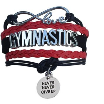 Gymnastics Never Give Up Infinity Bracelet- 13 Colors