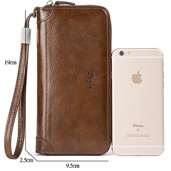 Men Wallet Genuine Leather Male Purse Long Phone Bag Natural Cowhide Clutch Bag Trendy Fashion Card Holder Man Hand Bag