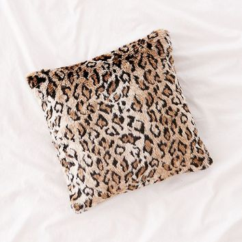 Leopard Print Faux Fur Pillow | Urban Outfitters