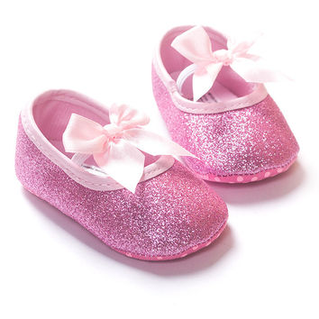 Sparkle Butterfly-knot Crib Shoes