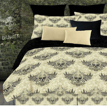 Veratex Home Indoor Bedroom Winged Skull Comforter Set Twin Khaki/Black