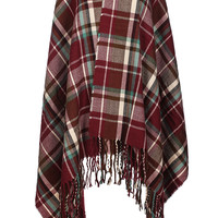 Hooded Plaid Print Shawl Poncho W/ Fringe Trim