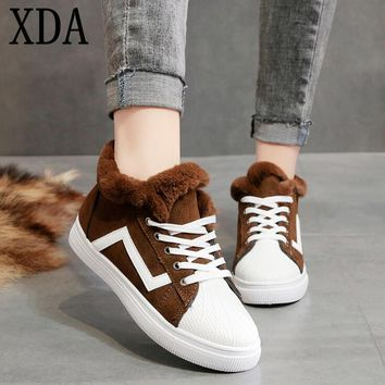 XDA Winter Warm add Cotton board Shoes Female 2019 New suede fashion women shoes Plus Velvet Lace-up Snow boots ankle Boots F846