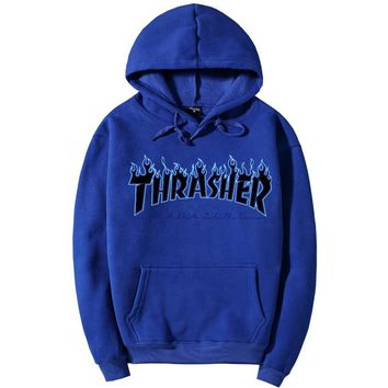 ThrasherQuality hooded sweater flame slide hip sweater Blue
