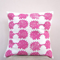 Pink decorative pillow - hedgehog print in raspberry hot pink, eco friendly  kids or nursery pillow