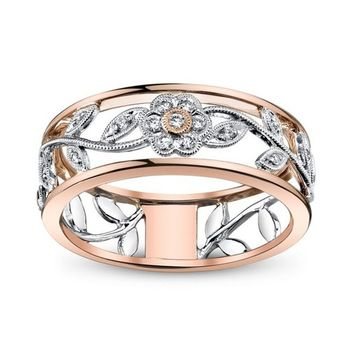 Exquisite Women's 925 Sterling Silver Floral Ring Proposal Gift Two Tone Diamond Jewelry 18K Rose Gold Vine Flower Bridal Engage