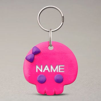 Girly Skull Pet ID Tag - Custom Name, Pet Collar Tag, For Dogs Cats