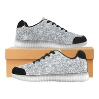 Silver Glitter Light Up Casual Women's Shoes