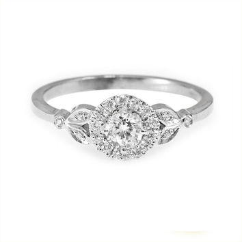Diamond Engagement Ring with Pave Diamonds Halo Crown - 0.3 carat Round Diamond -  18k Solid Gold - 14k Solid Gold