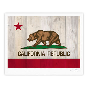 "Bruce Stanfield ""California Flag Wood"" Brown Fine Art Gallery Print"
