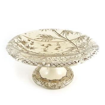 Brown transferware cake stand, Compote, Gildea & Walker, Melbourne, c. 1883, English Aesthetic Movement