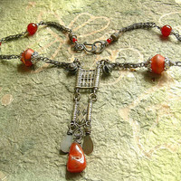 Ethnic Metal Necklace . Carnelian Necklace . World Beat . Sterling Silver & White Brass