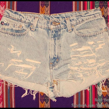 High-Waisted Size 5 Cut-Off Denim Shorts - - Can be done for custom order, Email: RaveBabe@outlook.com