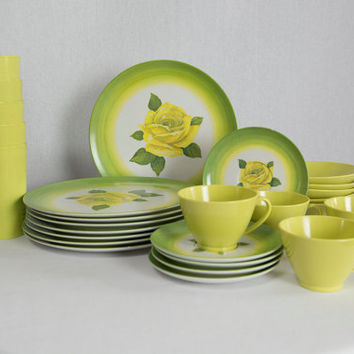 Vintage Melmac Dinnerware Set Lime Green with Yellow Rose Plates Bowls Cups Saucers 26 Pieces