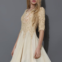 Ivory Pearly Decor Mid-Sleeve Lace Dress  Beige