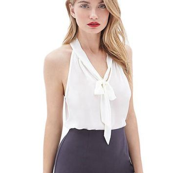 See Through Front Tie Up Bowknot Sleeveless Sheer Sleeveless Sexy Summer Casual Blouse Lady Office Work To Wear 2016 Chiffon