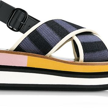 Marni Black and Cobalt Blue Cotton Wedge Sandals