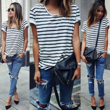 Women Lady Clothing T-Shirts Tops  Loose Striped Cotton Brief Short Sleeve T Shirt Casual Tee Fashion Lady Summer