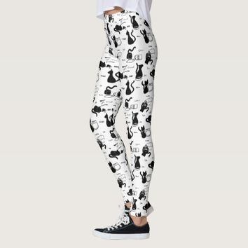 Playful Black Cat Silhouettes White Leggings